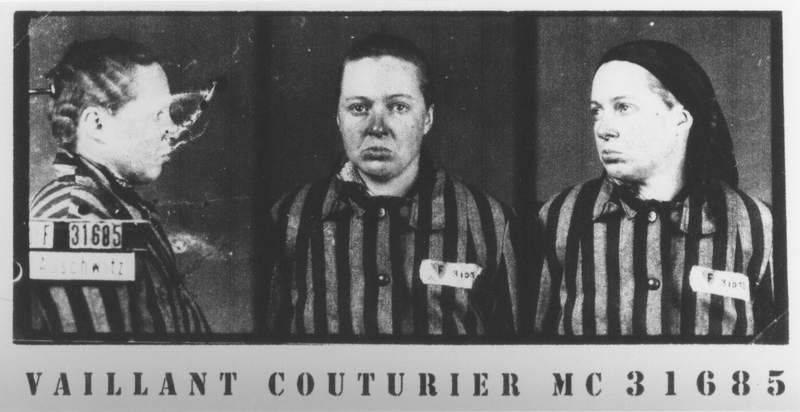 Mug shot of female Auschwitz prisoner marie Claude Vaillant Couturier Testimony about conditions at Mauthausen and Ravensbrueck at Nuremberg Trial
