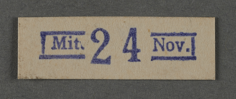1995.89.1028 front Ink stamp impression from an administrative department of the Kovno ghetto