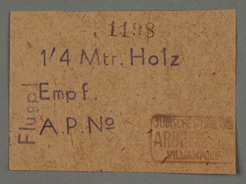 1995.89.103 front Work pass from the Kovno ghetto