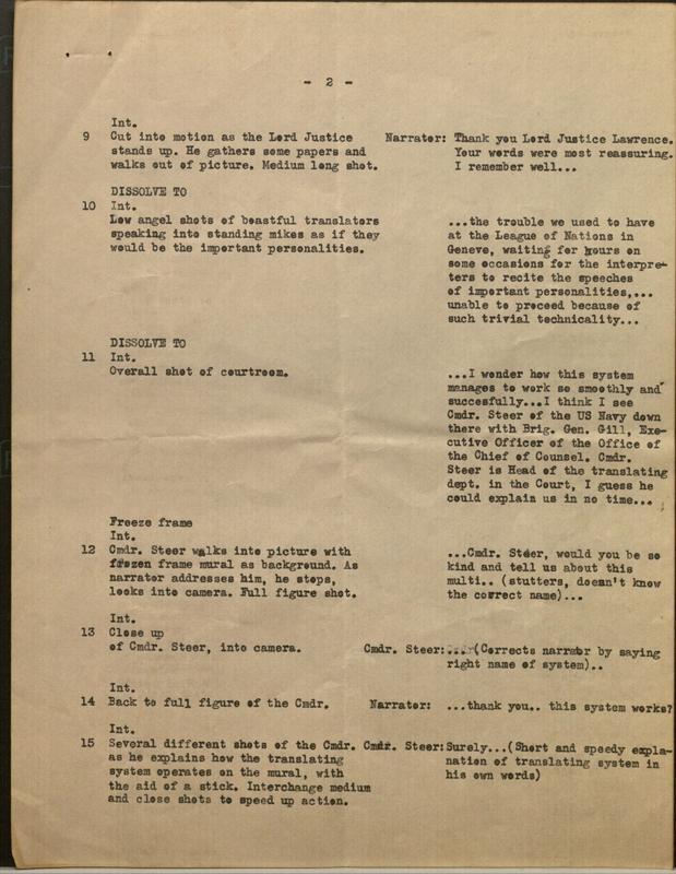 Original script page for the multilingual translation system Operation of translating system at Nuremberg Trial