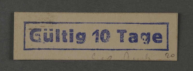 1995.89.1039 front Ink stamp impression from an administrative department of the Kovno ghetto