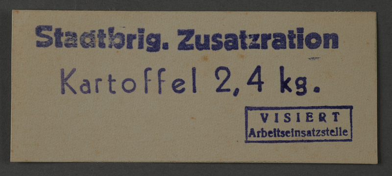 1995.89.1044 front Additional ration for potatoes issued by City Brigade in the Kovno ghetto