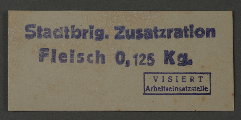 1995.89.1045 front Additional ration for meat issued by the City Brigade of the Kovno ghetto