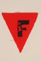 Unused red triangle concentration camp patch with an F found by a US military aid worker
