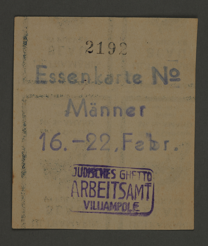 1995.89.105 front Ration card from the Kovno ghetto