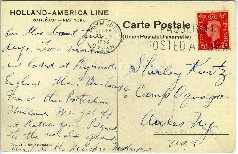 Postcard from David Kurtz, July 29 (back) Americans travel to Europe on Nieuw Amsterdam ship