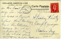 Postcard from David Kurtz, July 29 (back) Americans travel to Europe on Nieuw Amsterdam ship  Click to enlarge