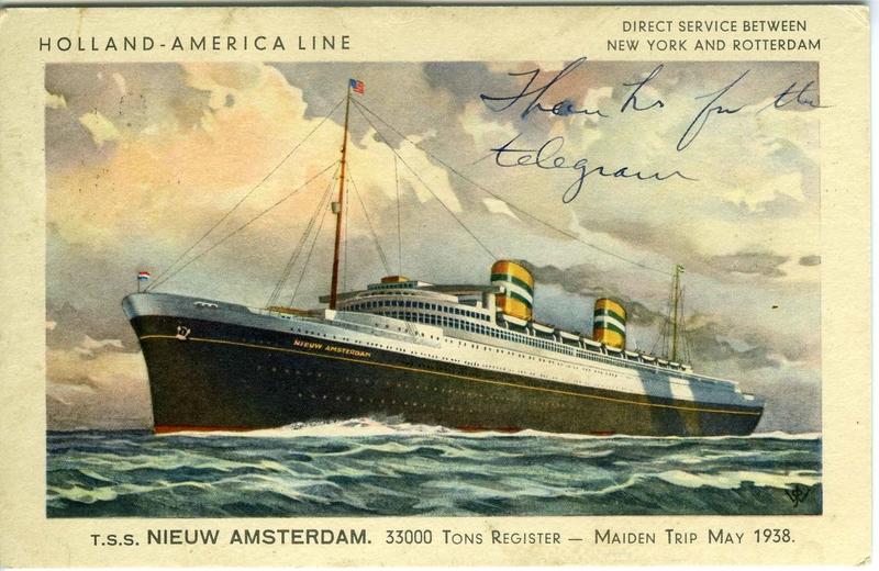 Postcard from David Kurtz, July 29 Americans travel to Europe on Nieuw Amsterdam ship
