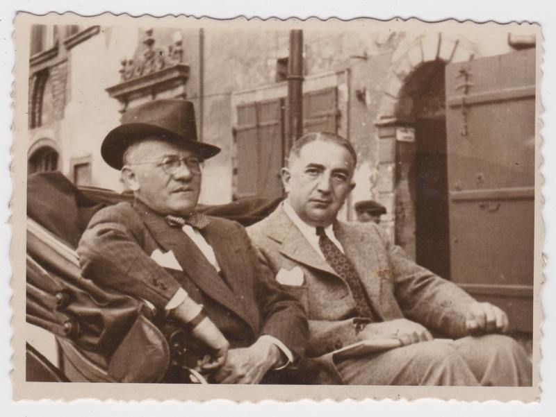 Louis Malina and David Kurtz in Warsaw after visiting Nasielsk Jewish quarter of Nasielsk