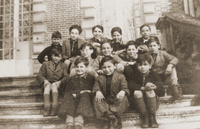 Photograph of boys on steps of children's home German Jewish refugee boys arrive at Quincy-sous-Senart  Click to enlarge