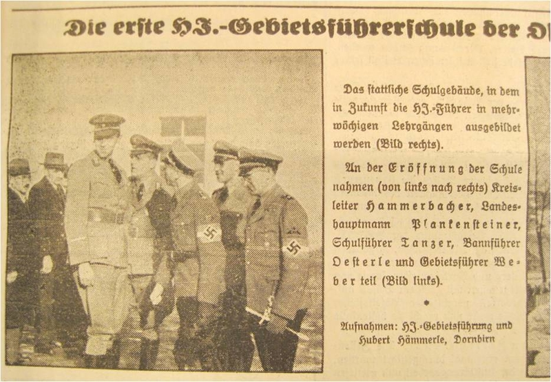News of Nazi and Hitler Youth leaders associated with opening the school Training at a Hitler Youth camp