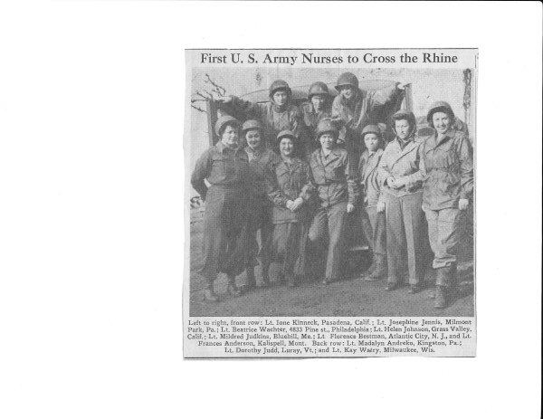 Newspaper article about nurses crossing Rhine Crossing the Rhine at Remagen