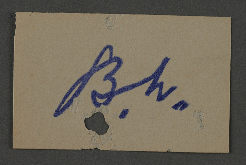 1995.89.1056 front Ink stamp impression signature of an official in the Kovno ghetto