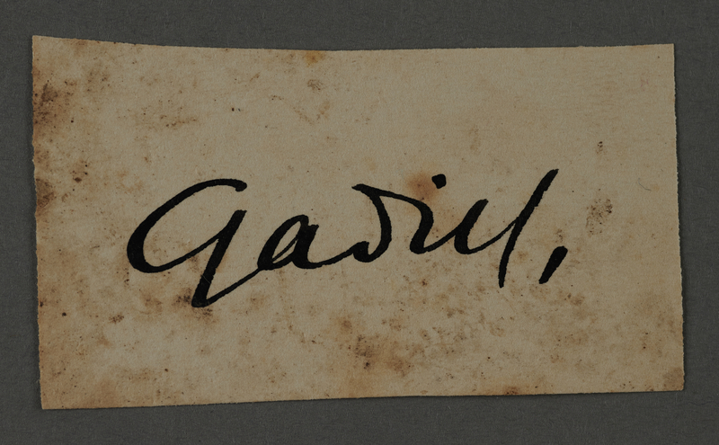 1995.89.1057 front Signature of Fritz Gadiel, head of the Graphics Department in the Kovno ghetto
