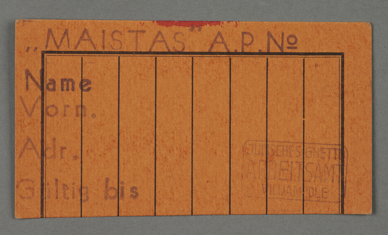 1995.89.106 front Work pass from the Kovno ghetto