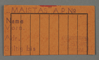 1995.89.106 front Work pass from the Kovno ghetto  Click to enlarge