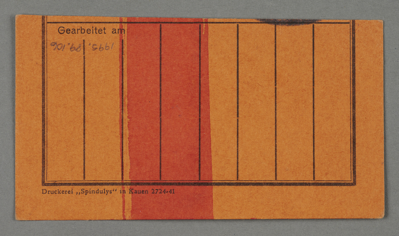 1995.89.106 back Work pass from the Kovno ghetto