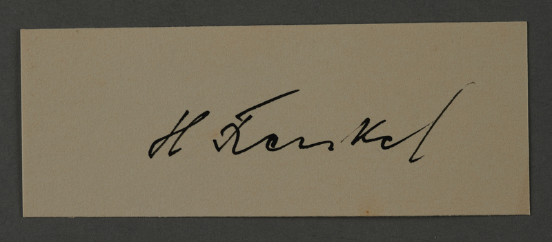 1995.89.1063 front Signature of Herman Fraenkel, head of the Nutrition Department in the Kovno ghetto