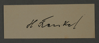 1995.89.1063 front Signature of Herman Fraenkel, head of the Nutrition Department in the Kovno ghetto  Click to enlarge