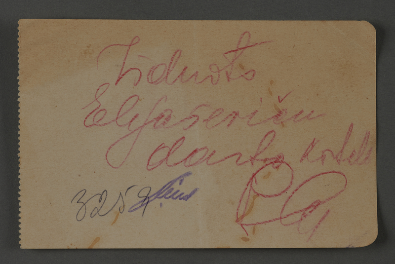 1995.89.1075 front Inscription from an individual in the Kovno ghetto