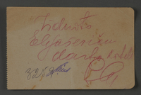 1995.89.1075 front Inscription from an individual in the Kovno ghetto  Click to enlarge