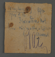 1995.89.1076 front Inscription from individual in the Kovno ghetto  Click to enlarge