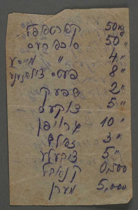 1995.89.1077 front Inscription from the Kovno ghetto
