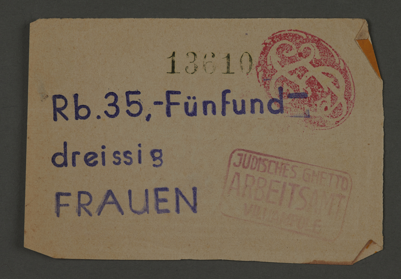 1995.89.109 front Ration coupon from the Kovno ghetto