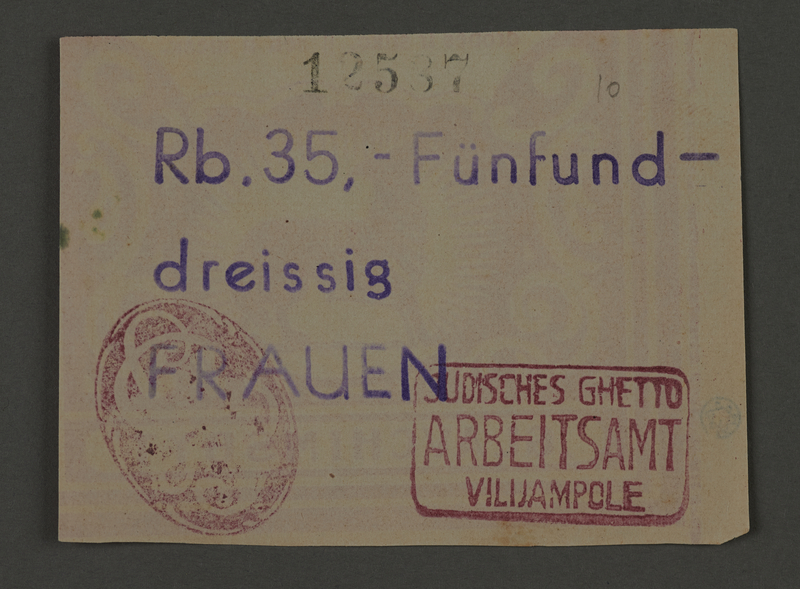 1995.89.110 front Ration coupon from the Kovno ghetto
