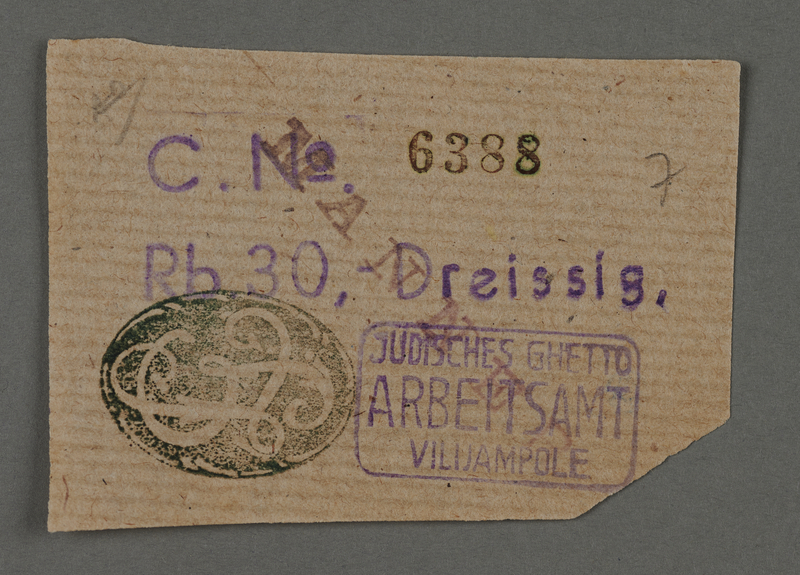 1995.89.111 front Ration coupon from the Kovno ghetto