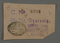 1995.89.111 front Ration coupon from the Kovno ghetto  Click to enlarge