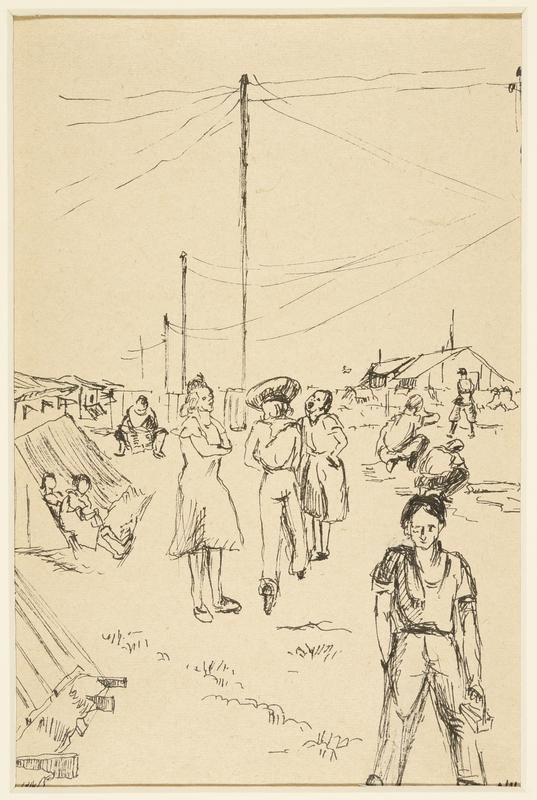 1988.1.34 front Drawing of people outside the barracks by an inmate at Gurs internment camp