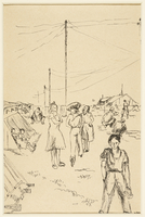1988.1.34 front Drawing of people outside the barracks by an inmate at Gurs internment camp  Click to enlarge