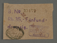 1995.89.114 front Ration coupon from the Kovno ghetto  Click to enlarge