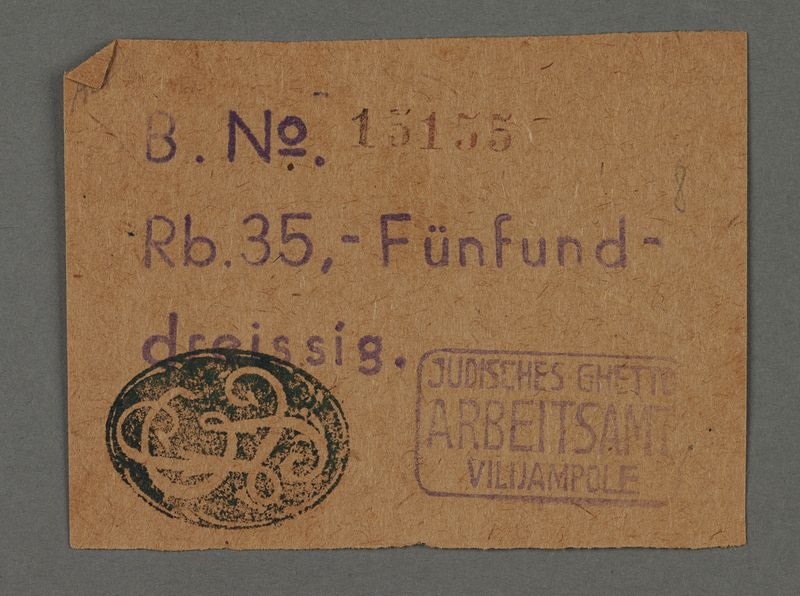 1995.89.115 front Ration coupon from the Kovno ghetto