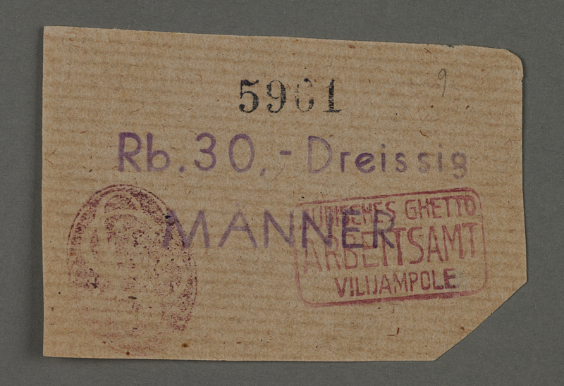 1995.89.118 front Ration coupon from the Kovno ghetto