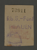 1995.89.120 front Ration coupon from the Kovno ghetto  Click to enlarge