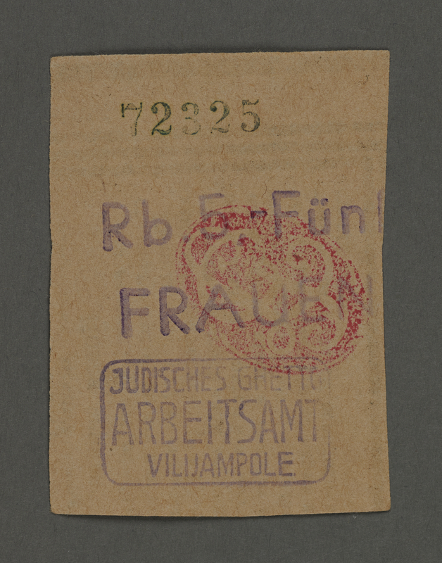 1995.89.121 front Ration coupon from the Kovno ghetto