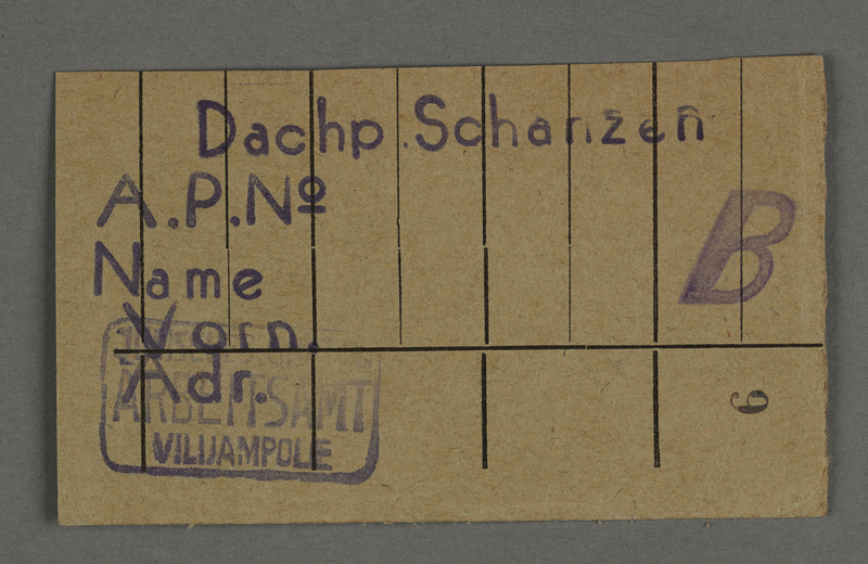1995.89.124 front Work permit from the Kovno ghetto