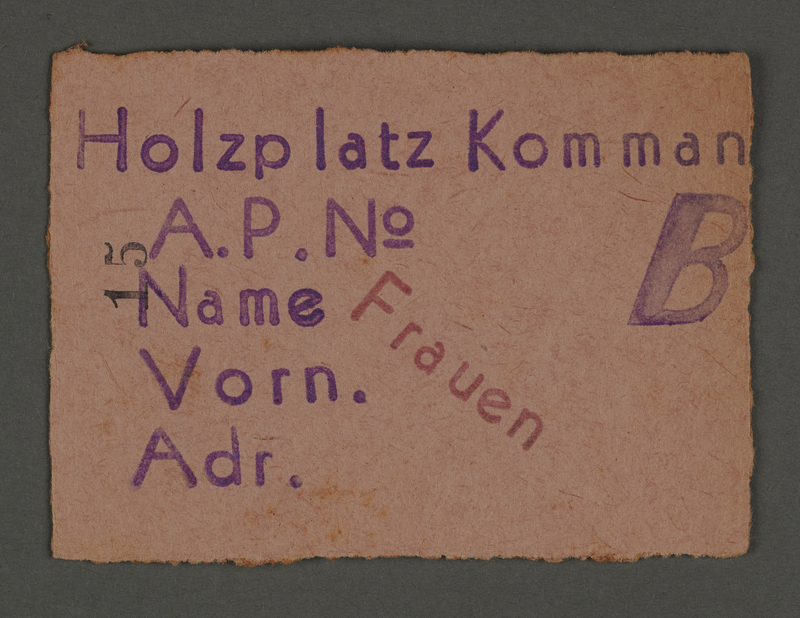 1995.89.125 front Work permit from the Kovno ghetto