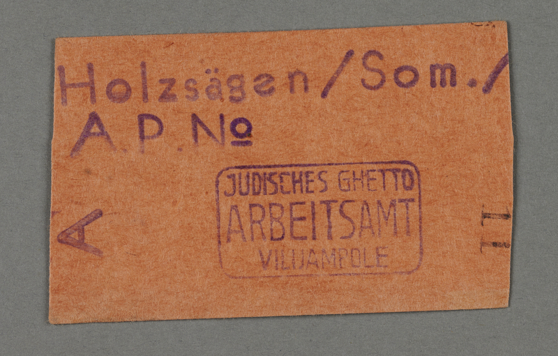 1995.89.128 front Work permit from the Kovno ghetto