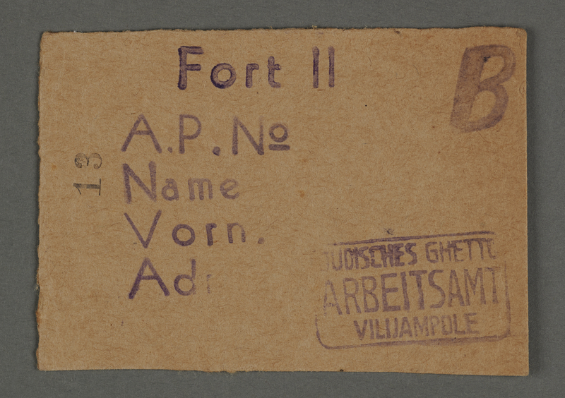 1995.89.129 front Work permit from the Kovno ghetto
