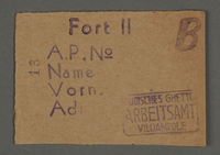 1995.89.129 front Work permit from the Kovno ghetto  Click to enlarge