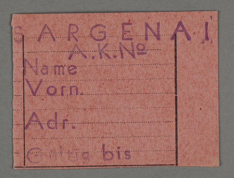 1995.89.130 front Work permit from the Kovno ghetto