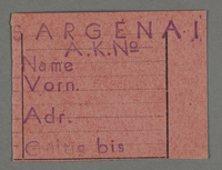 1995.89.130 front Work permit from the Kovno ghetto  Click to enlarge