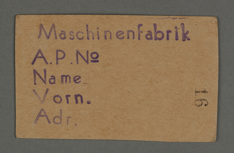 1995.89.134 front Work permit from the Kovno ghetto