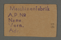 1995.89.134 front Work permit from the Kovno ghetto  Click to enlarge