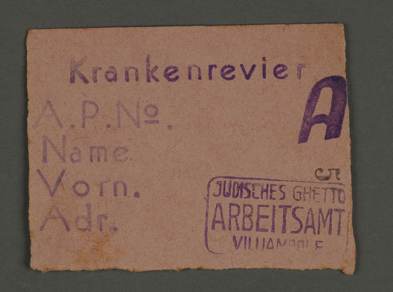 1995.89.137 front Work permit from the Kovno ghetto