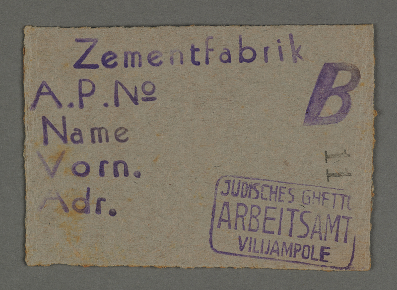 1995.89.139 front Work permit from the Kovno ghetto