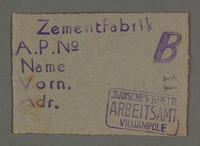 1995.89.139 front Work permit from the Kovno ghetto  Click to enlarge